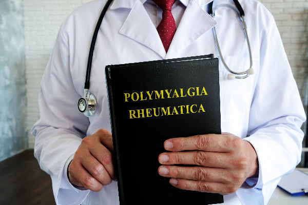 what is polymyalgia rheumatica causes symptoms of polymyalgia rheumatica and natural treatment for polymyalgia rheumatica doctor holding black notebook with yellow text white brick wall background