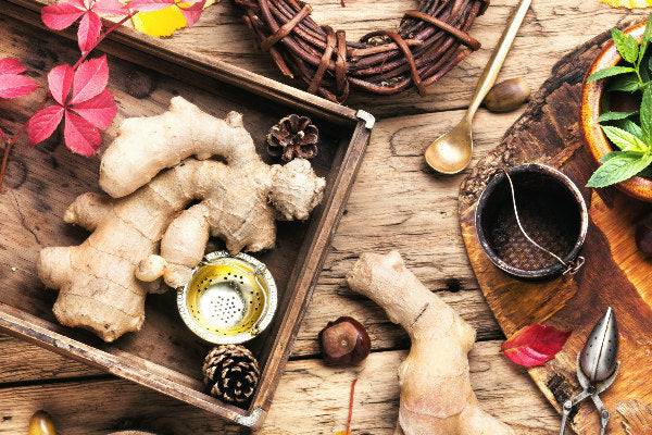 what is systemic lupus erythematosus symptoms of systemic lupus erythematosus and natural remedies ginger root on wooden table with leaves tea diffuser
