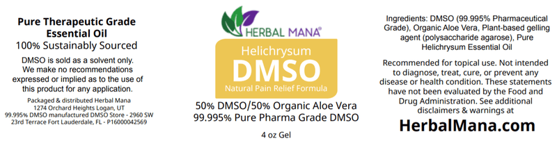 CLEARANCE!! Helichrysum DMSO gel - 50/50 Aloe Vera (4 oz jar) Herbal Mana LLC