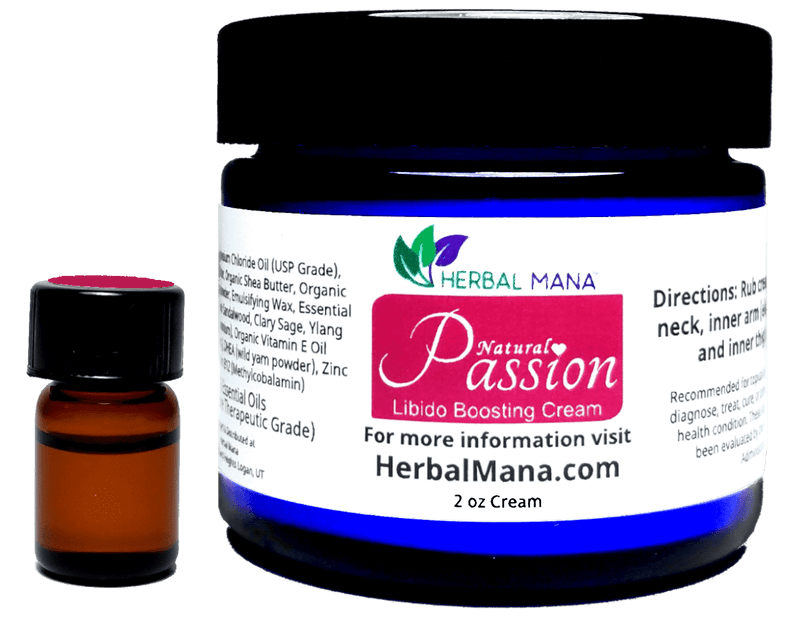 CLEARANCE!! Passion Cream (Libido Boosting Blend) Passion Essentials Pack (2 oz cream + Pure Essential Oils 5/8 dram) Herbal Mana LLC