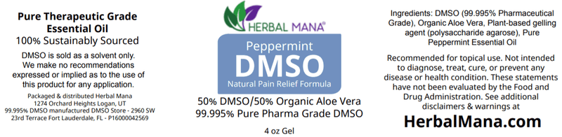 CLEARANCE!! Peppermint DMSO gel - 50/50 Aloe Vera (4 oz jar) Herbal Mana LLC
