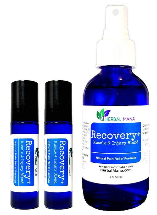CLEARANCE!! Recovery+ (Muscle & Injury Blend) Travel Pack (4 oz spray + 2 roller bottles) Herbal Mana LLC