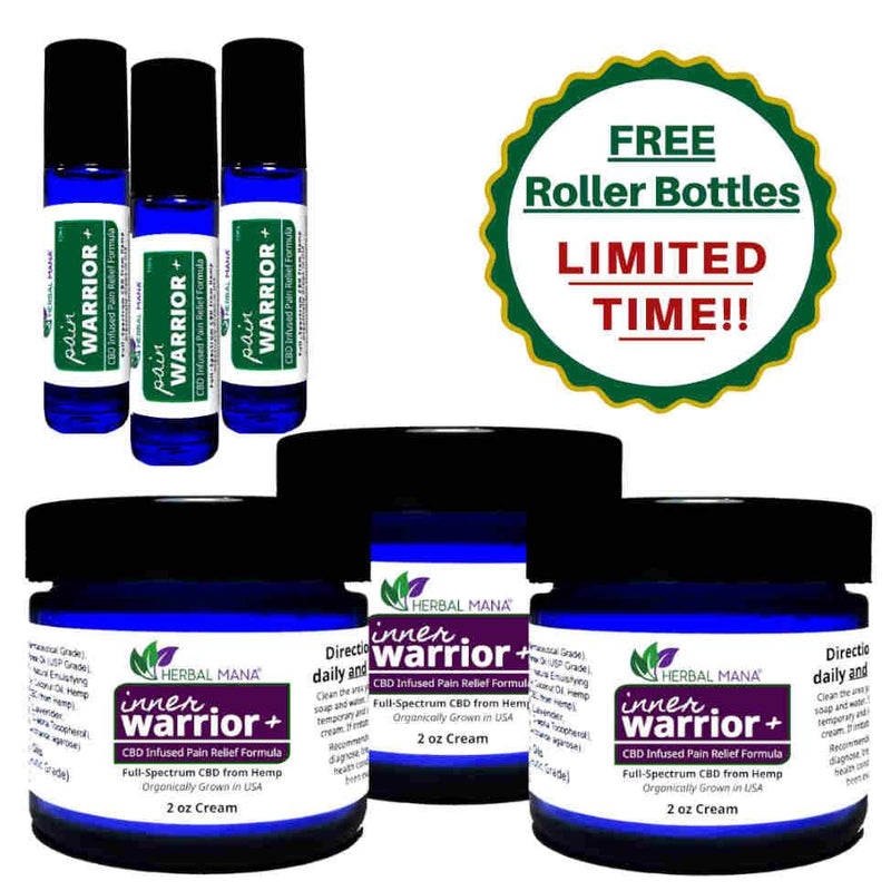 Inner Warrior+ BOGO Sale!! (CBD Infused DMSO Cream) 3 pack (2 oz creams + 3 FREE Roller Bottles) Herbal Mana LLC
