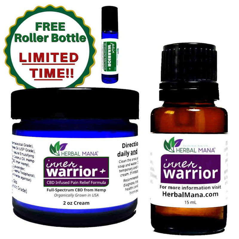 Inner Warrior+ BOGO Sale!! (CBD Infused DMSO Cream) Inner Warrior+ Essentials Pack (2oz cream + 15mL Pure Essential Oils + FREE Roller Bottle) Herbal Mana LLC
