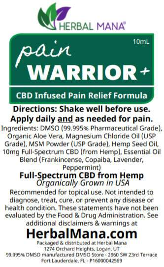 Pain Warrior+ Holiday Gift Box Pain Warrior+ Gift Box (2oz cream + 2 roller bottles) Herbal Mana LLC