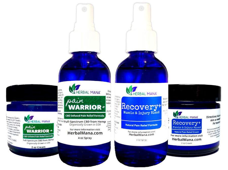 Weekend Warrior Pack Weekend Warrior Set (Pain Warrior - 4oz spray, 2oz cream + Recovery - 4oz spray, 2oz cream) Herbal Mana LLC
