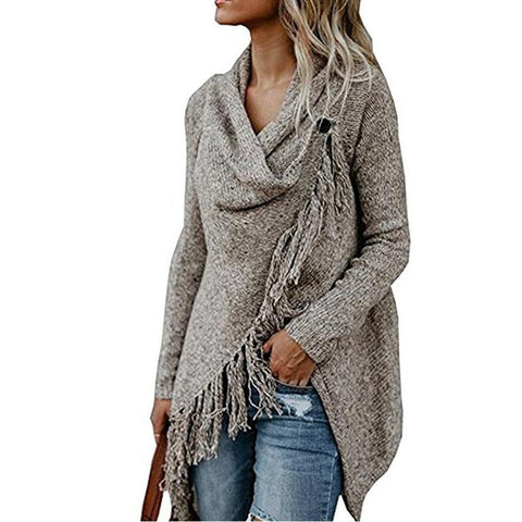 Autumn Cape Women Solid Sweaters