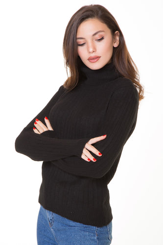 Women's Turtleneck Black Tricot Sweater