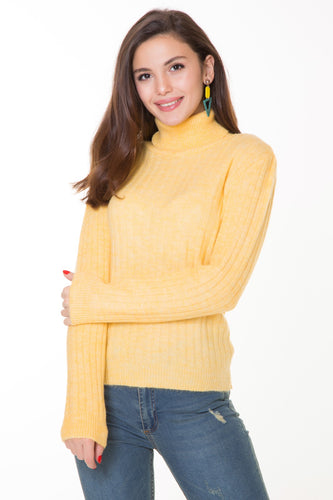 Women's Yellow Turtleneck Sweater
