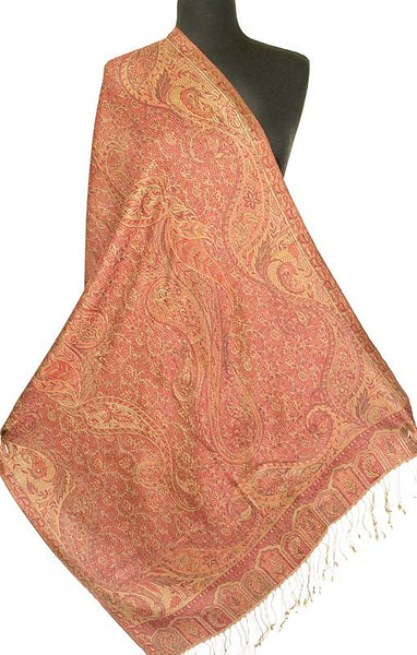 Gold & Burgundy Silk Wrap. Jamawar Shawl. Iridescent Silk