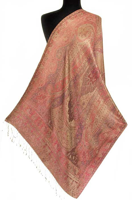 Iridescent Silk. Jamavar, Paisley Shawl. Burgundy and Gold