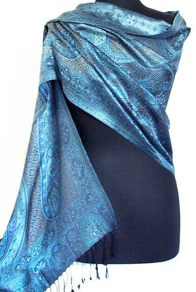 Iridescent Silk, Jamavar, Scarf or Shawl. Blue. Reversible Jamawar