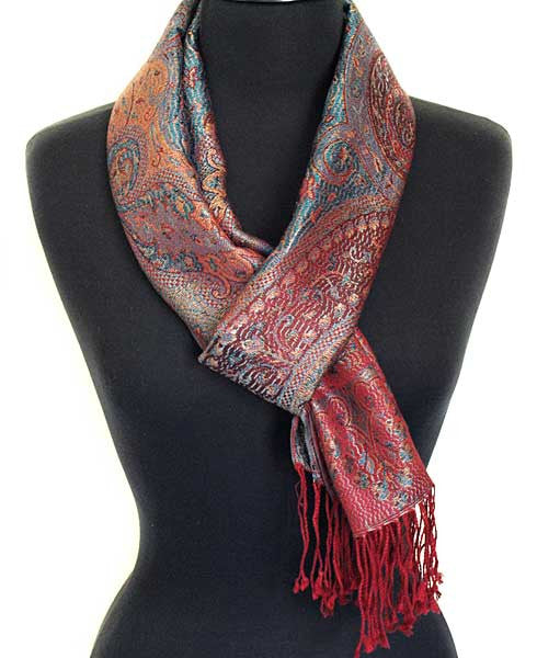Reversible Paisley Silk Scarf. Iridescent Silk. Red. Jamavar Scarf or Shawl