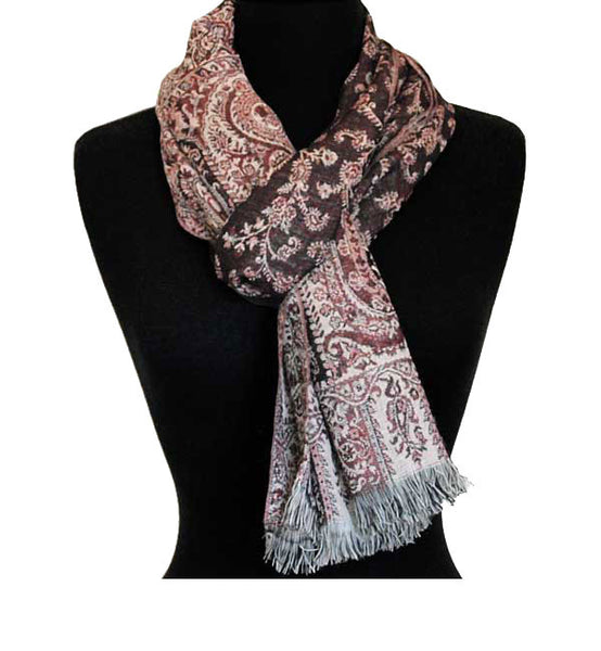 Reversible Brick Red Indian Scarf