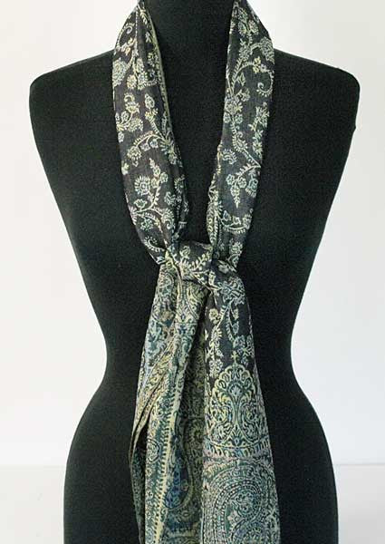 Reversible Green & Blue Indian Scarf