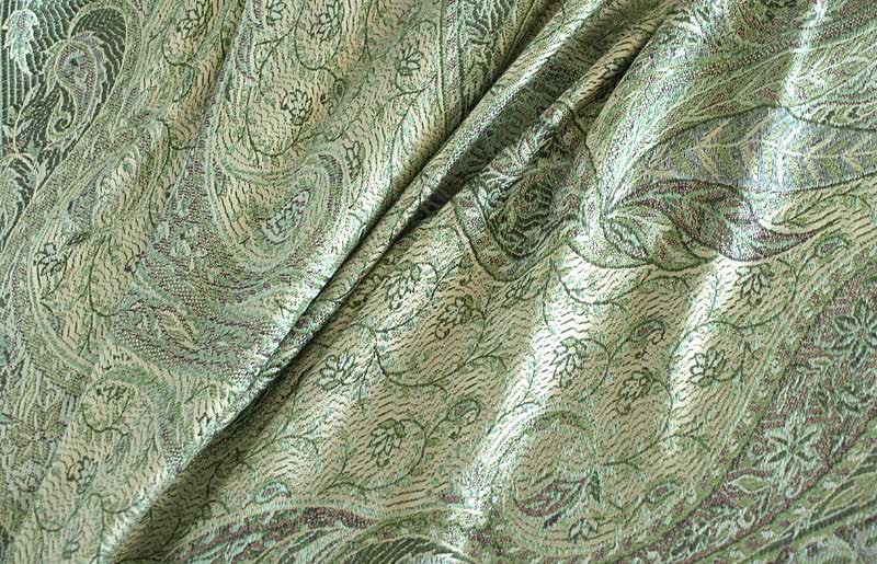 Shades of Green Silk, Jamawar Shawl. Reversible Paisley Wrap.