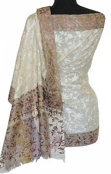 Crewel Embroidery on Ivory Shawl