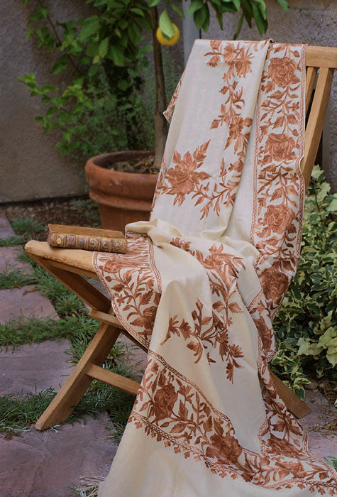 Indian shawl on chair in garden