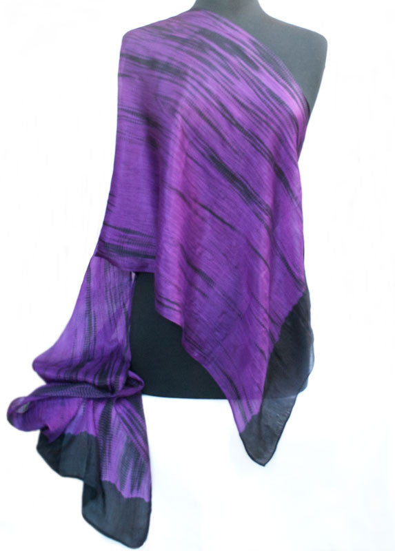 "Shibori Purple & Black Silk Scarf 72"" x 20"""