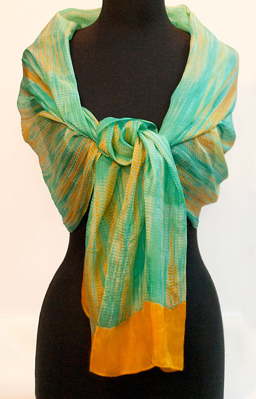 "Shibori Sea Green & Yellow Silk Scarf 72"" x 20"""