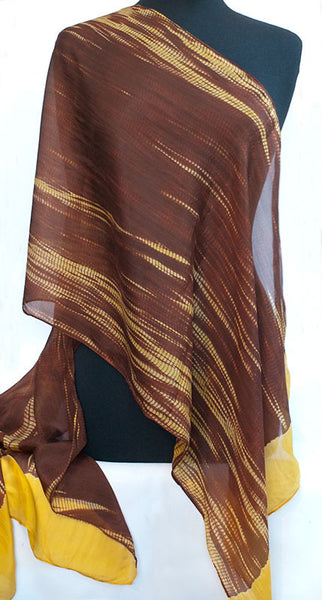 "Shibori Yellow & Rust Silk Scarf 72"" x 20"""