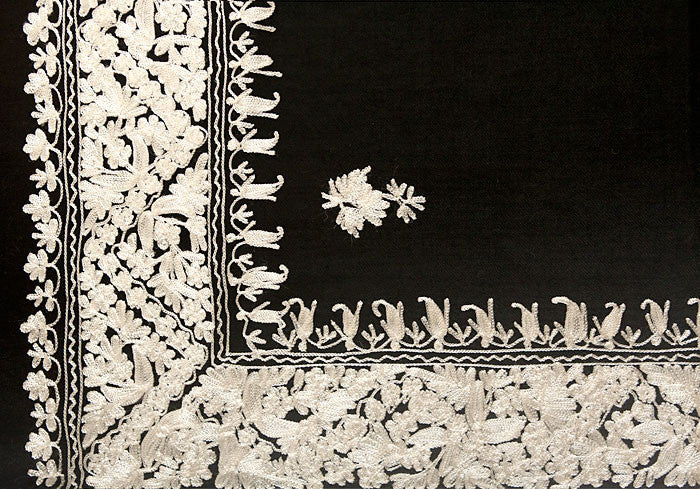 Black Shawl with White Chain Stitch