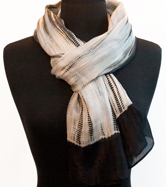"Shibori Black & White Silk Scarf 72"" x 20"""
