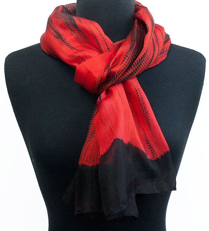 "Shibori Red & Black Silk Scarf 72"" x 20"""