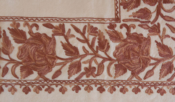 Flowers embroidered on Indian throw