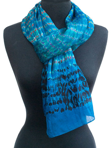 "Shibori Royal Blue Silk Scarf 72"" x 20"""