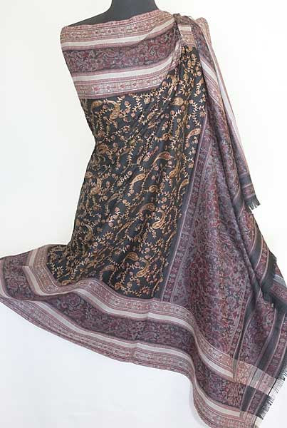 Black & Dark Red Embroidered Shawl