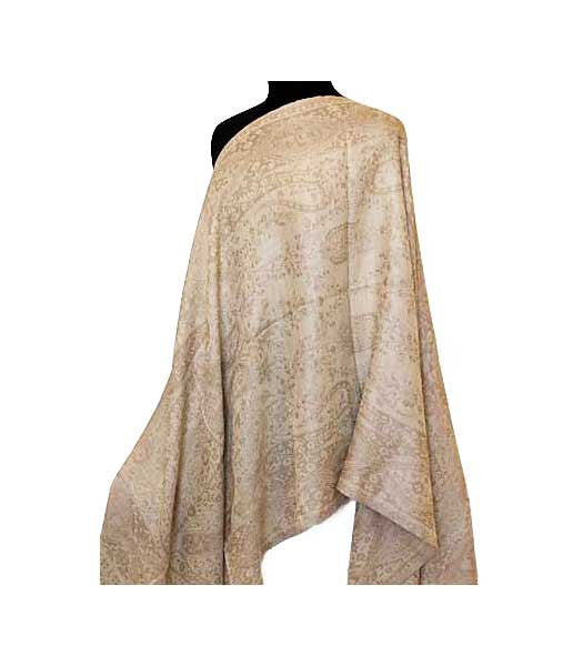 This brown and gold shawl is reversible