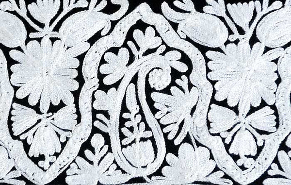 Black Embroidered Throw