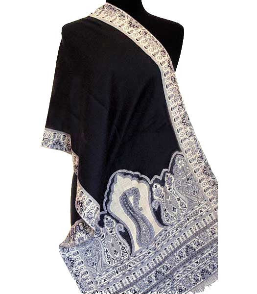 A black paisley scarf or light shawl from India.