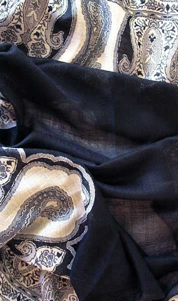 Soft black indian paisley scarf