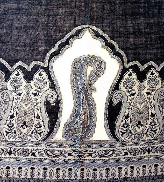 Paisley design on black scarf