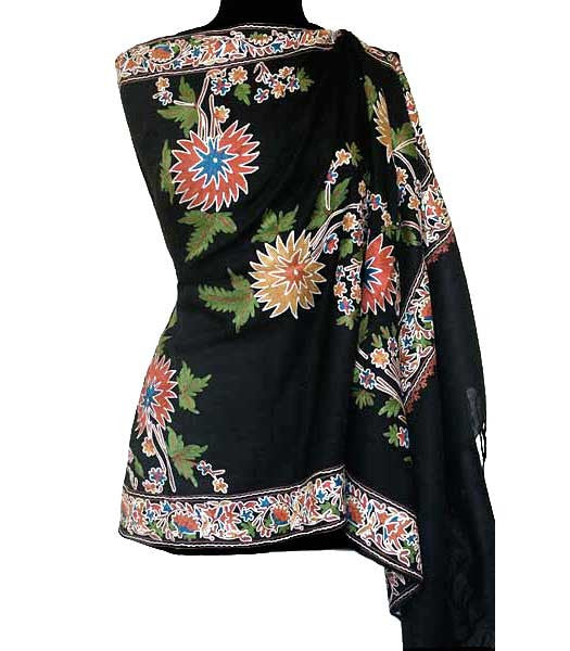 black shawl embroidered