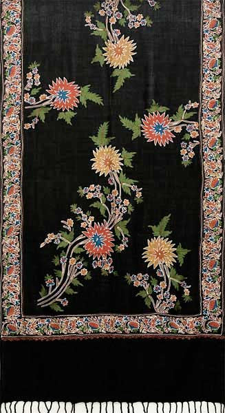 embroidered black wool shawl from India
