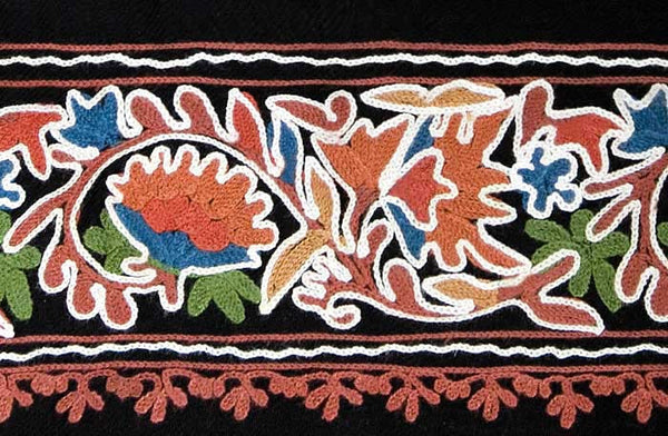 embroidered edge of black shawl