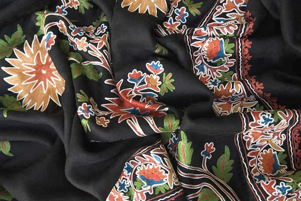 black wool shawl embroidered with colorful flowers