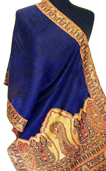 Light navy shawl from India