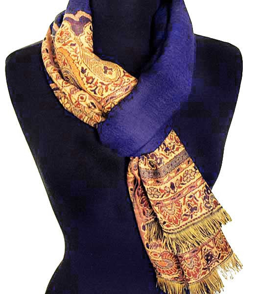 Blue wool scarf from India
