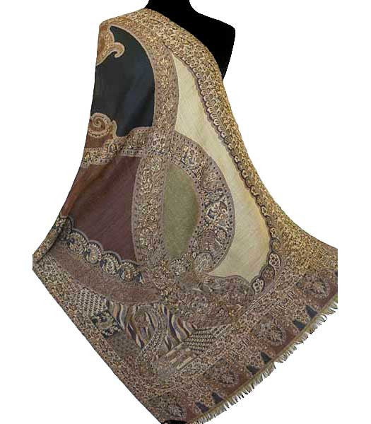 Brown jamawar shawl from India