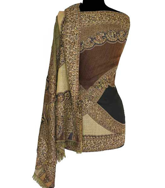 Brown and gold shawl from India