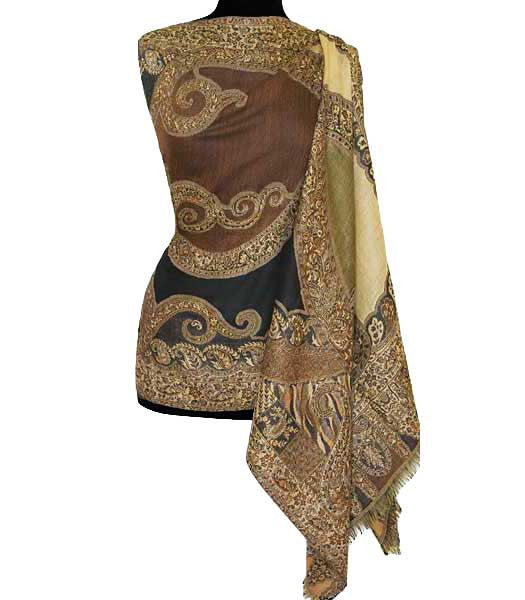 Brown jamawar shawl  or wrap