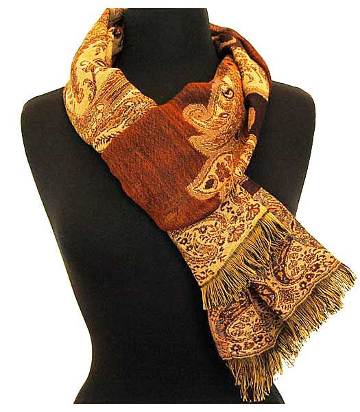 Brown wool jamavar scarf.