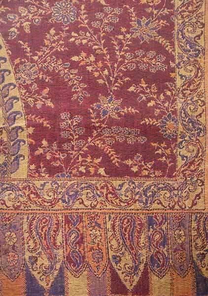 close up of large Indian jamavar shawls