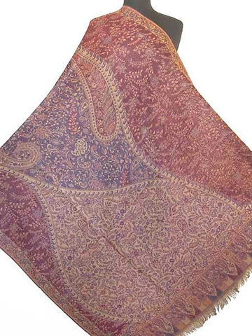 Large burgundy jamawar shawls from India