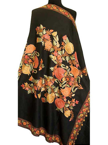 Black wool shawl embroidered with detailed flower.