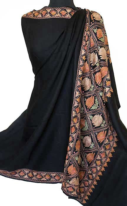 kashmiri embroidered shawl from India